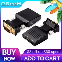 QGeeM-convertidor Compatible con VGA a HDMI, adaptador de Audio Full HD VGA a HDMI con salida de vídeo 1080P HD para PC y portátil