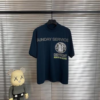 Camiseta azul marino con estampado 3D de Jesús es el rey, ropa de calle de alta calidad Kanye West, gran tamaño, servicio dominical, camiseta de Jesús es camiseta de rey
