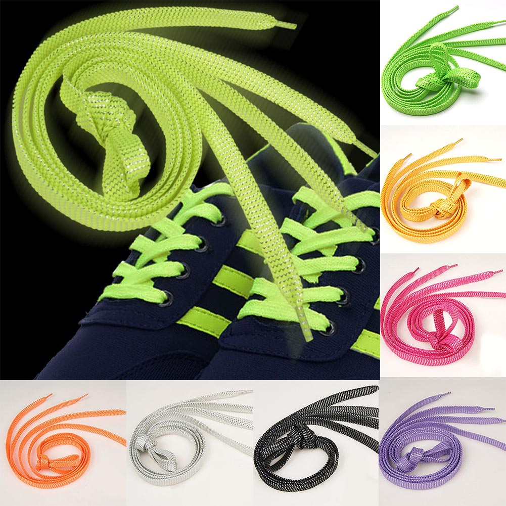 1 Pair 110cm Flat Shoelaces Gold Silver Shoe Laces Party Camping Shoelaces Glowing Canvas Shoes Strings Drop Shipping