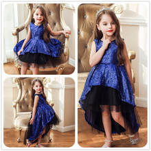 NEW kids dresses for girls Wedding presiding Sequins Bow party dress girl tutu  princess dress baby girl clothes Sleeveless цены онлайн