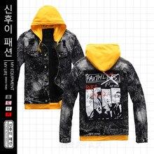 Men's Jean Jacket Pattern Letters Printed Patchwork Hooded Male Jackets Trendy Harajuku Streetwear Ripped Mens Denim Hoodie Coat