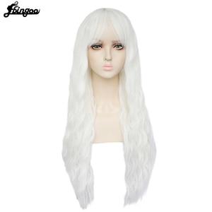 Image 3 - Ebingooロングブロンドピンクブルーブラックホワイト合成女性のためのきちんとした前髪高温繊維