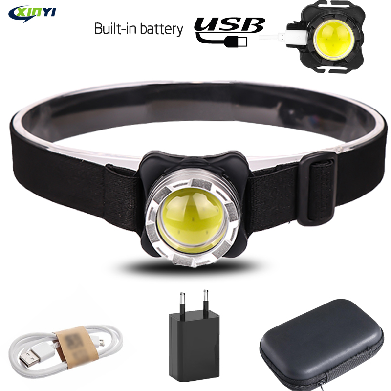 5000Lumens Built-in Battery LED Headlamp USB Rechargeable COB Work Light 3 Light Mode Waterproof Headlight  For Fishing, Camping