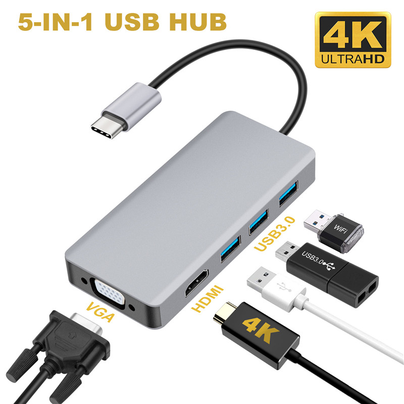 USB C Hub 5-IN-1 USB C HDMI VGA Dual-Display Adapter With USB 3.0*3 HDMI 4K VGA 1080P @60HZ Thunderbolt 3 Type C Hub For Macbook