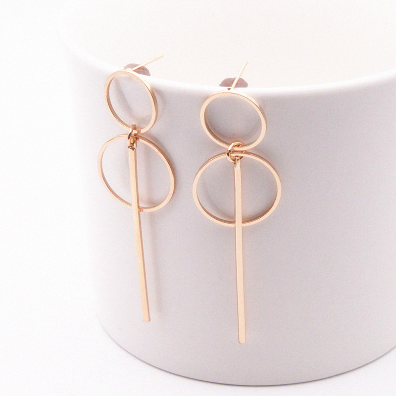 Fashion Statement Round Geometric Earrings Retro Female Long Pendant Circle Earring Women Hanging Dangle Earrings Jewelry