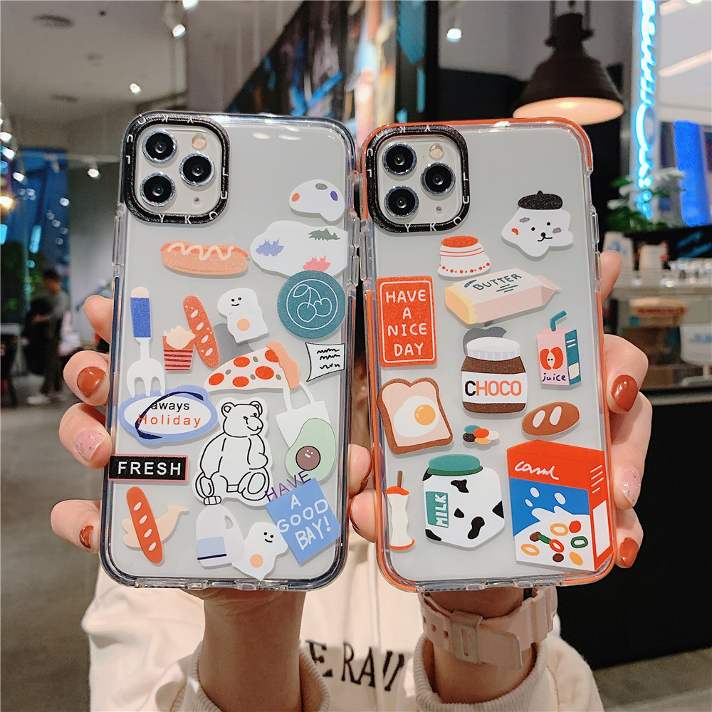 Cartoon Pizza Bread Style Two-Color Transparent Shockproof TPU Mobile Phone Case Iphone 12 11 PRO MAX XS X XR SE 8 7 6 PLUS 6S