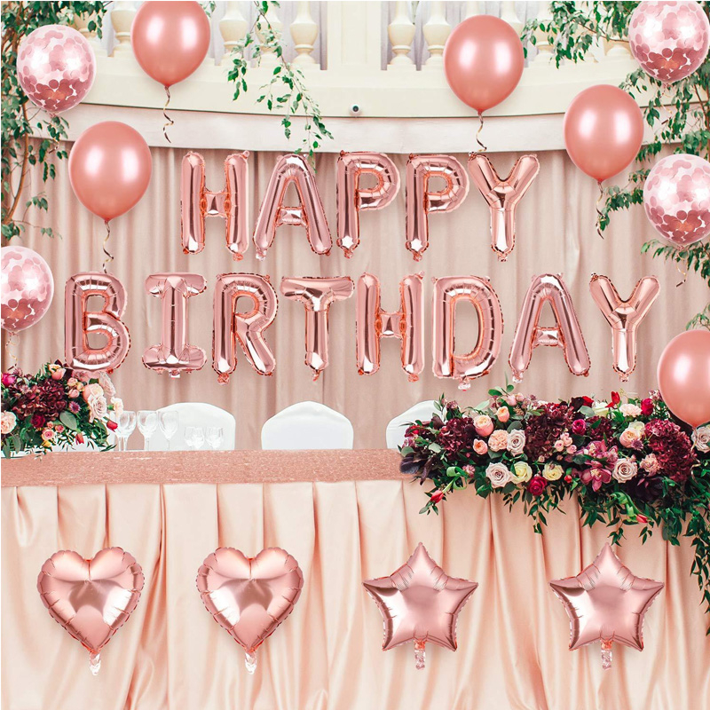 Birthday Party Decoration Set Rose Gold Heart Star Shaped Large Letter Foil Balloons Baby Shower Celebration Ballon Supplies