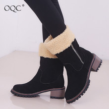 Купить с кэшбэком OQC Women Winter Snow Boots Fur Warm Waterproof Low Block Heel Round Toe Outdoor Boot Fashion Women Short Boots Zip Up D25