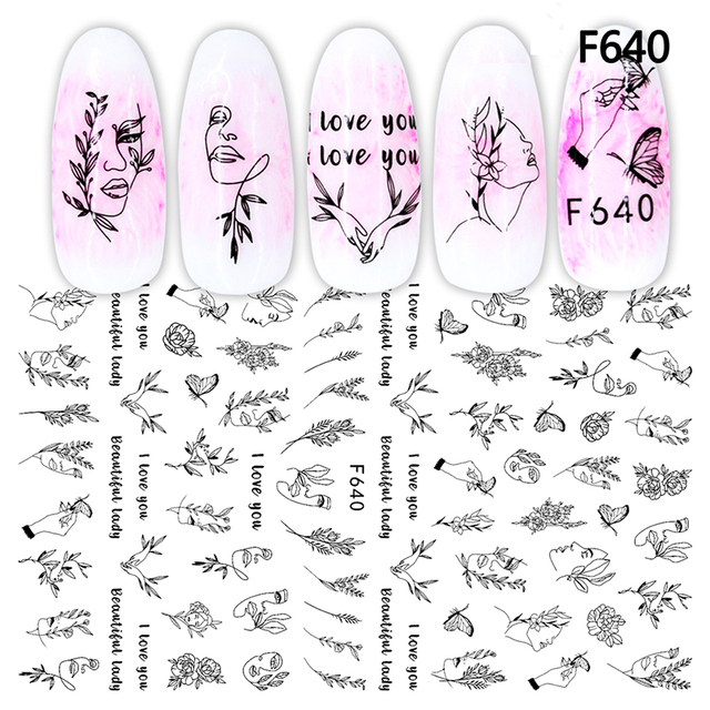 3D Nail Sticker Cool English Letter Nail Art Decorations Foil Love Heart Design Nails Accessories Fashion Manicure Stickers 2