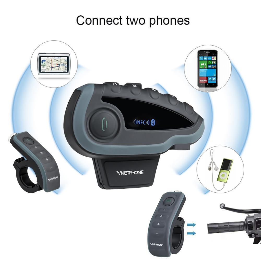 V8 Motorrad Helm Intercom Helm Headset Für Kopfhörer 5 Piloten BT Sprechanlagen FM Radio NFC Fernbedienung