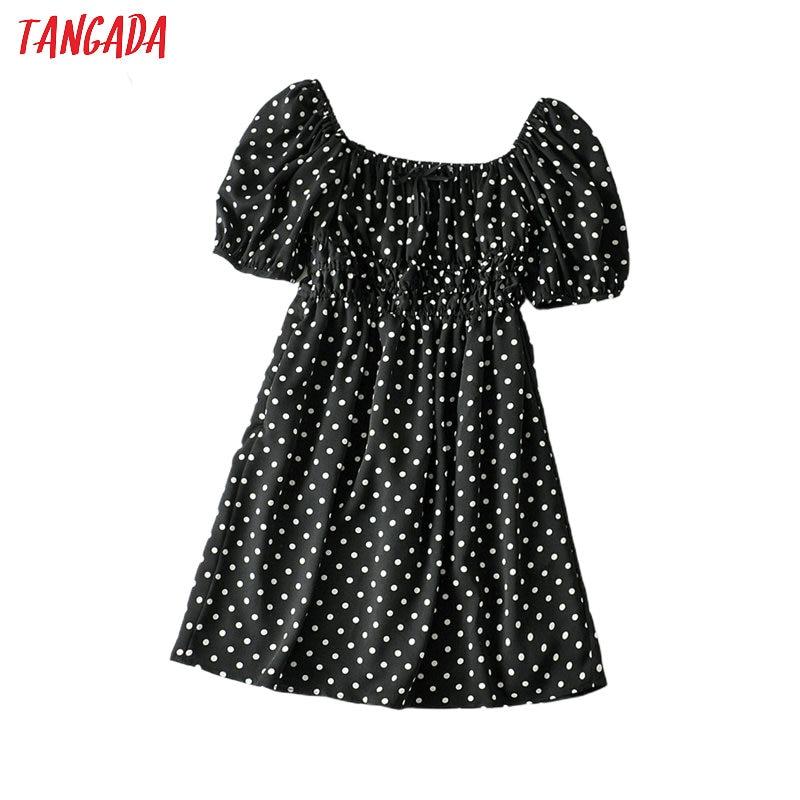 Tangada Women Dots Print Bow Sweet Summer Dress Shoulder Off Backless Females Mini Dresses Vestidos 5W12