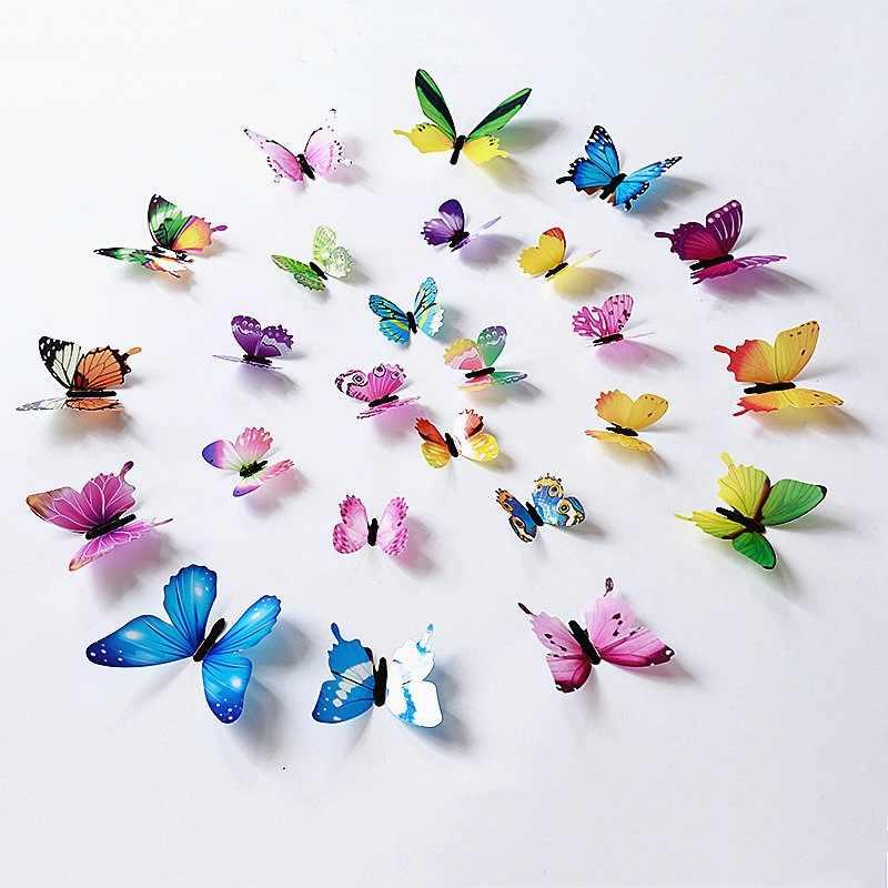 12 Teile/satz Mode Schöne Schmetterlinge Wand Aufkleber PVC 3D Schmetterling Wand Dekor Kunst Abziehbilder Zimmer Wand Art Home Dekorationen