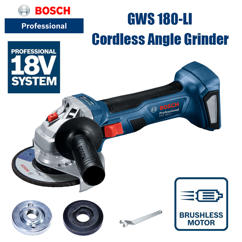 BOSCH GWS180-LI Rechargeable Brushless Angle Grinder Portable Cutting Machine Polisher 18V Brushless Power Tool  bare metal