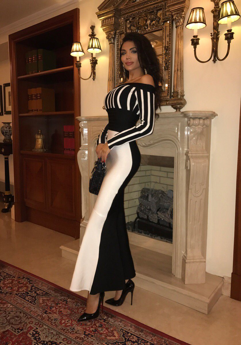 European And American-Style Dress Summer New Style Dress Hot Selling-off-Shoulder Striped Sheath Dress
