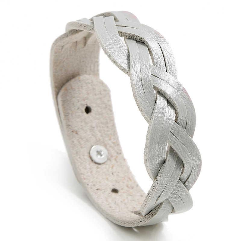 Niuyitid novo couro do plutônio trança mulheres pulseiras meninas charme acessórios de pulso brazaletes coréia jóias barato dropshipping