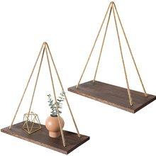 Деревянная подвесная веревка премиум-класса, настенные плавающие полки, растительный цветочный горшок, настенная подвесная полка, комнатн...