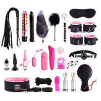 BDSM Adult Sex Torture Toys Set Eye Mask Gag Handcuffs Whips Anal Plug Sex Vibrators Toys for Erotic Women Slave Couples Games
