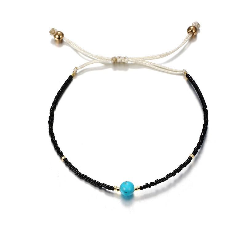 Minimalist Ball Resin Anklets Bracelets For Women Handmade Black Color Rope Braid Anklets Gifts For Women