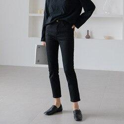 Осень 2019, новинка, черные, тонкие, корейские, прямые, женские джинсы, девять точек, обтягивающие, маленькие ноги, узкие брюки, джинсы для женщи...