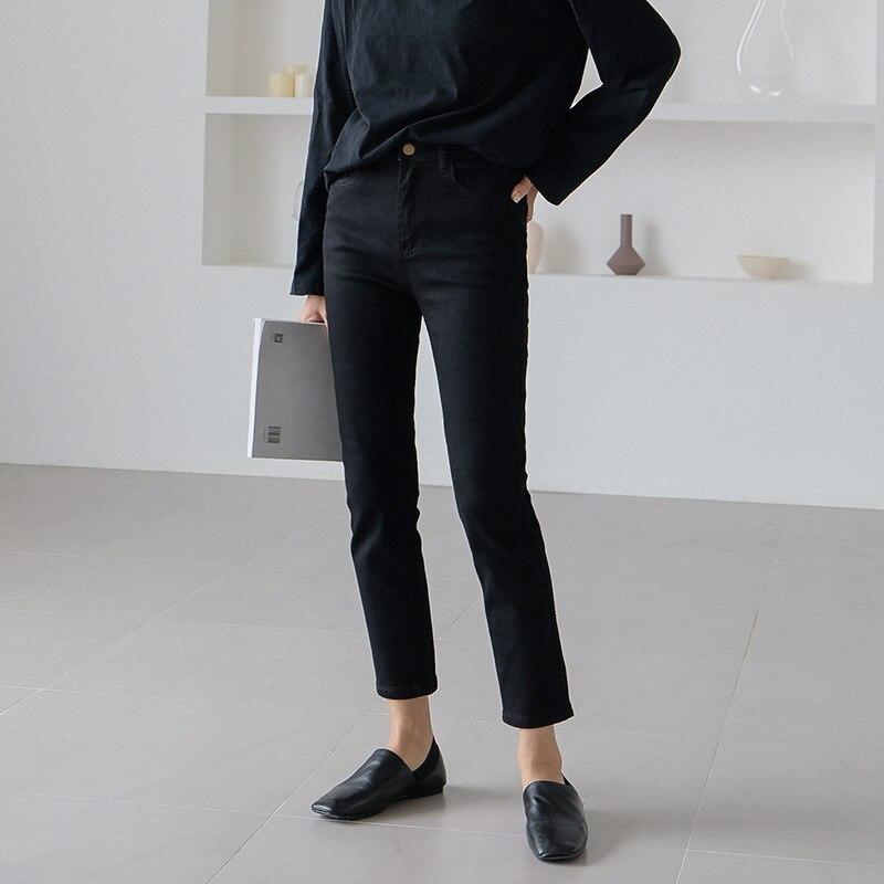 Autumn 2019 New Black Slim Korean Straight Tube Jeans Women's Nine Point Skinny Little Leg Pencil Pants Jeans Woman