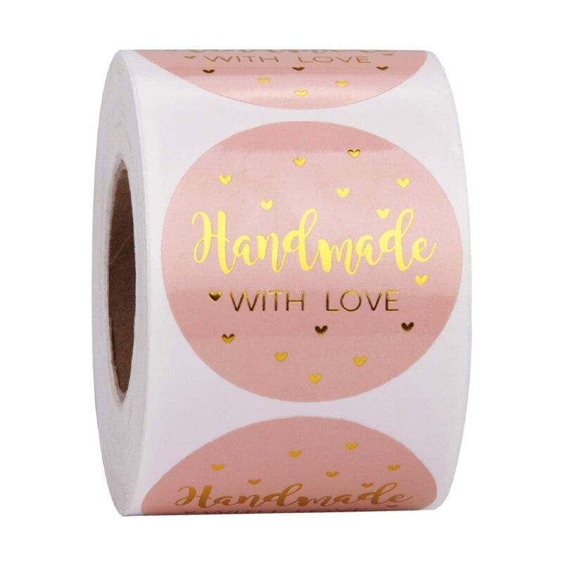 """500 sztuk """"Handmade With Love"""" naklejki papierowe Kraft 25mm okrągłe etykiety samoprzylepne do ciast weselnych dekoracje party naklejka dekoracyjna"""