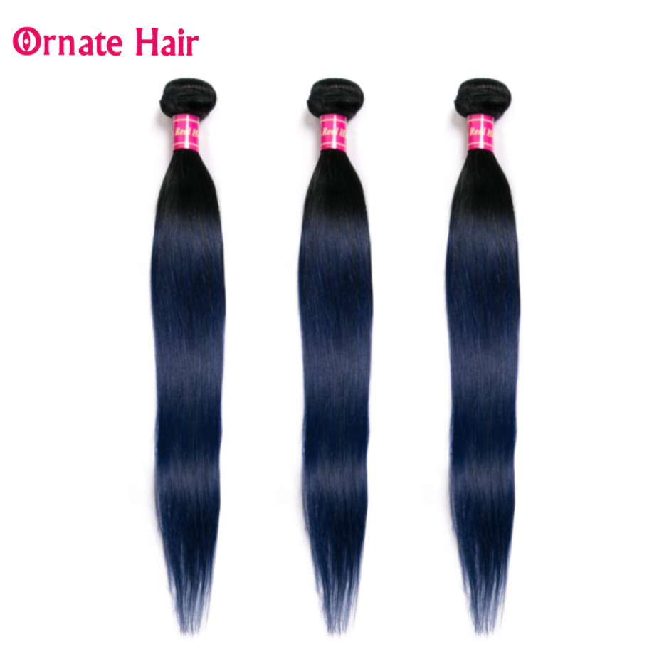 Ombre Colored Hair Bundles 100% Human Hair Extension Peruvian Straight Hair Weave Bundles Ornate Blue Hair Bundles Non Remy
