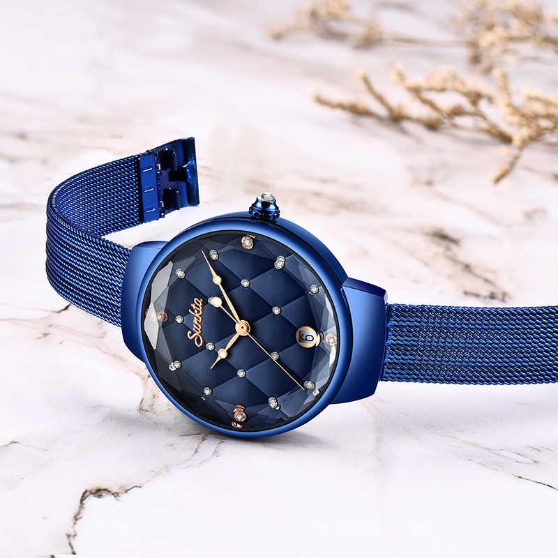 SUNKTA ผู้หญิงแฟชั่นสีฟ้านาฬิกาควอตซ์ Casual Waterproof Simple นาฬิกาข้อมือสำหรับหญิงหญิง Saat Relogio Feminino + กล่อง