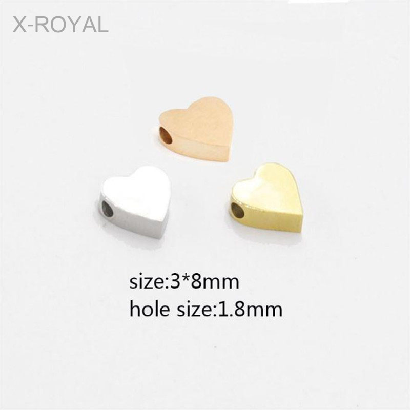 X-ROYAL 10Pcs/lot 3*8mm Heart Shape 1.8mm Hole Metal Loose Beads DIY Jewelry Making Findings Gold Rose Lovers Bulk