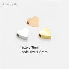 X-ROYAL 10Pcs/lot 3*8mm Heart Shape 1.8mm Hole Metal Loose Beads DIY Jewelry Making Findings Gold Rose Lovers Bulk