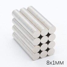 1000 шт. 8x1 мм NdFeB мощные супер сильные Редкоземельные неодимовые магниты N35 Маленький круглый постоянный магнит диаметром 8 мм x 1 мм