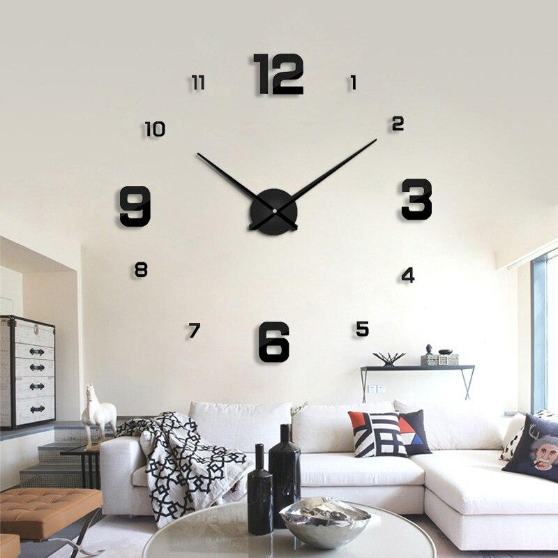 Rantion Quartz Clocks Fashion Modern Design Rushed  Watches Mirror Sticker Diy 3d Wall Hanging Clock Living Room Decor