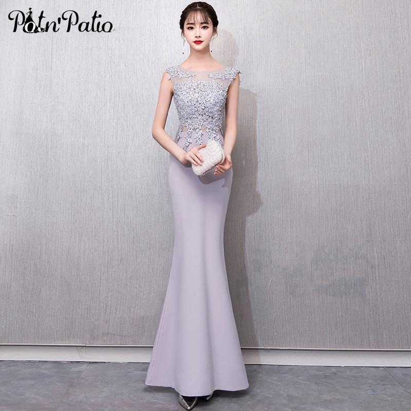 Encolure dégagée sans manches gris sirène robes de bal 2019 de luxe perles Appliques Sexy dos nu Spandex Satin robes de bal longue