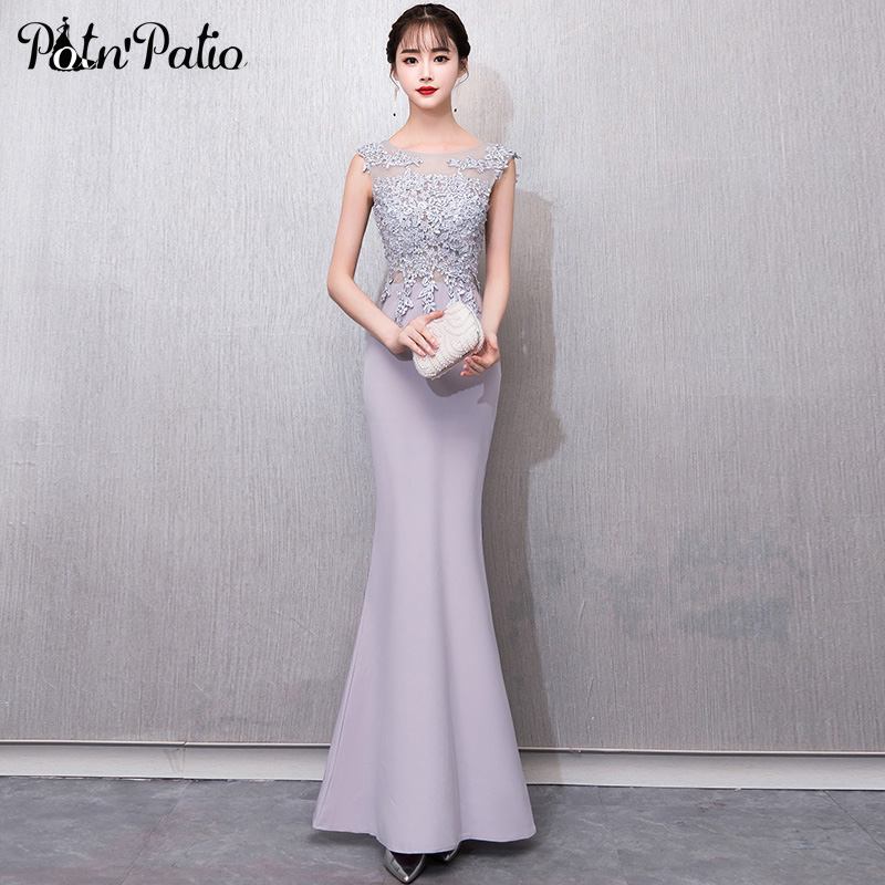 Scoop Neck Sleeveless Gray Mermaid   Prom     Dresses   2019 Luxury Beading Appliques Sexy Backless Spandex Satin   Prom     Dresses   Long