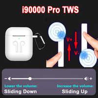 Fones de ouvido sem fio i90000 pro tws bluetooth fone de ouvido esporte fones de ouvido ajuste de volume deslizante pk i5000 i100000