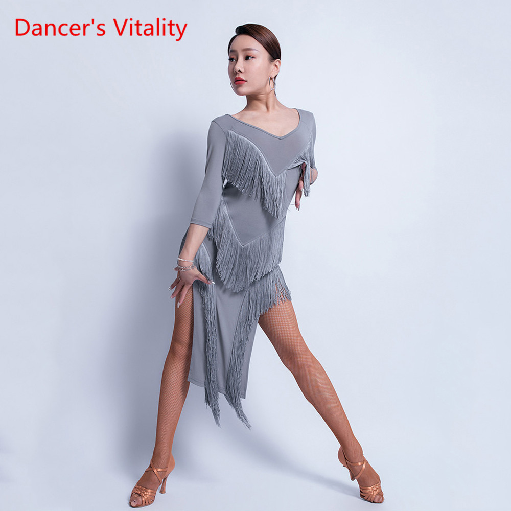 New Latin Dance Sexy Tassel Dress Female Adult Performance Exercise Dance Clothing Professional Practice Clothes