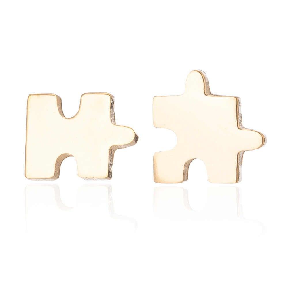 Mini di puzzle in acciaio inox orecchino della vite prigioniera Elegante oro argento carino puzzle ear studs 2019 nuove donne Minimalista orecchini dei monili
