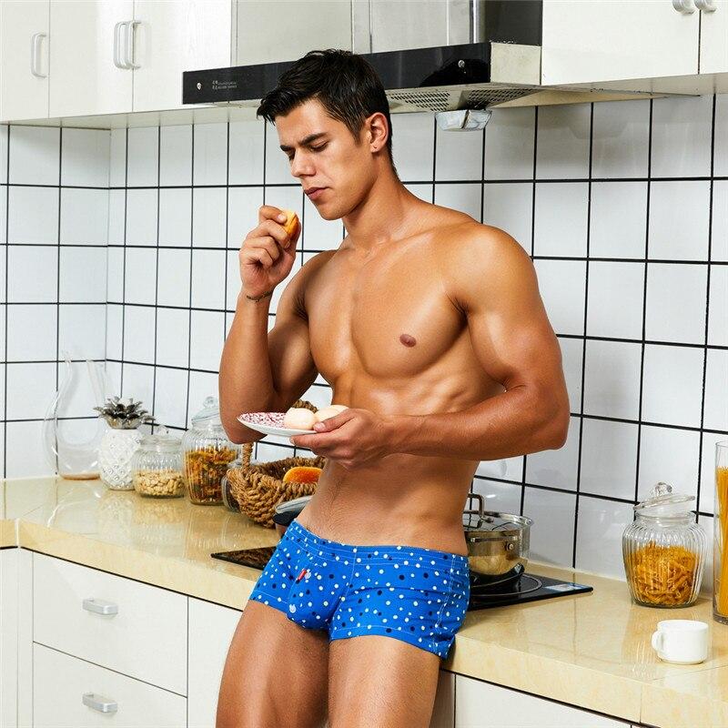 SEOBEAN Men's Home Pants Boxer Shorts Men Sleep Bottoms Lounge Shorts 2020 New Cotton Points Sexy Men Sleepwear Shorts