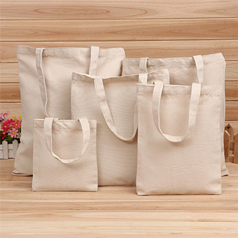 5 Sizes Pure Color Shopping Bag Women Linen Storage Handbag Simple Portable Lady Girls Hand Tote Large Capacity Reusable