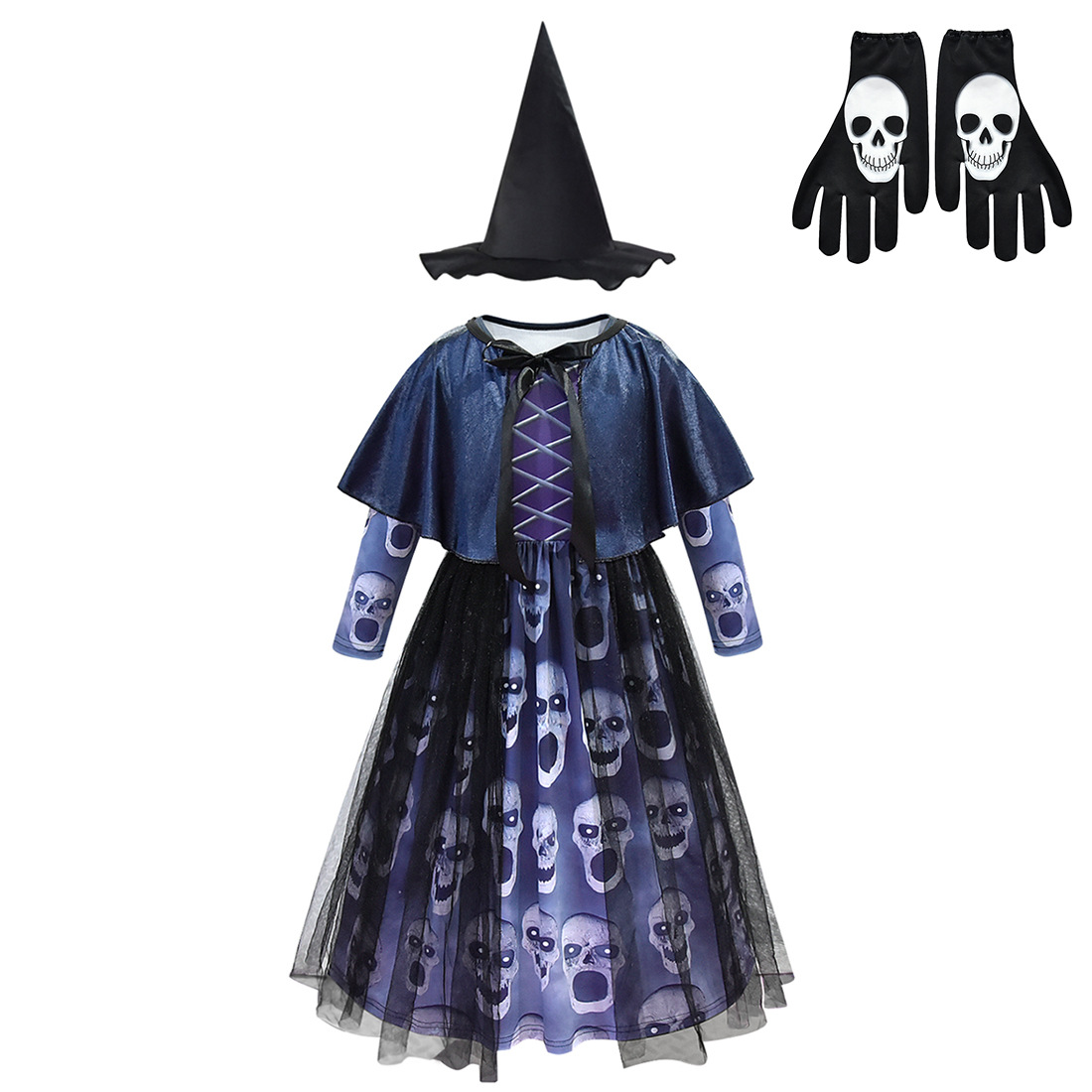 Kids Witch Skull Dress Halloween Costume for Kids Girls Carnival Cosplay Costumes Childrens Witch Devil Elf Vampire Ghost Horror