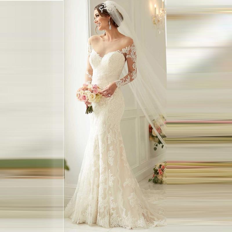 Vestido De Noiva 2016 Off Shoulder Long Sleeve Appliques Ivory Lace Backless Bridal Dresses 2016 Cheap Mermaid Wedding Dresses
