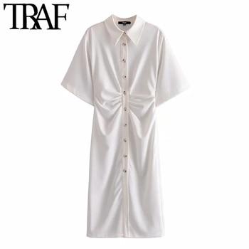 TRAF Women Chic Fashion Button-up Draped Midi Shirt Dress Vintage Short Sleeve Side Zipper Female Dresses Vestidos 4
