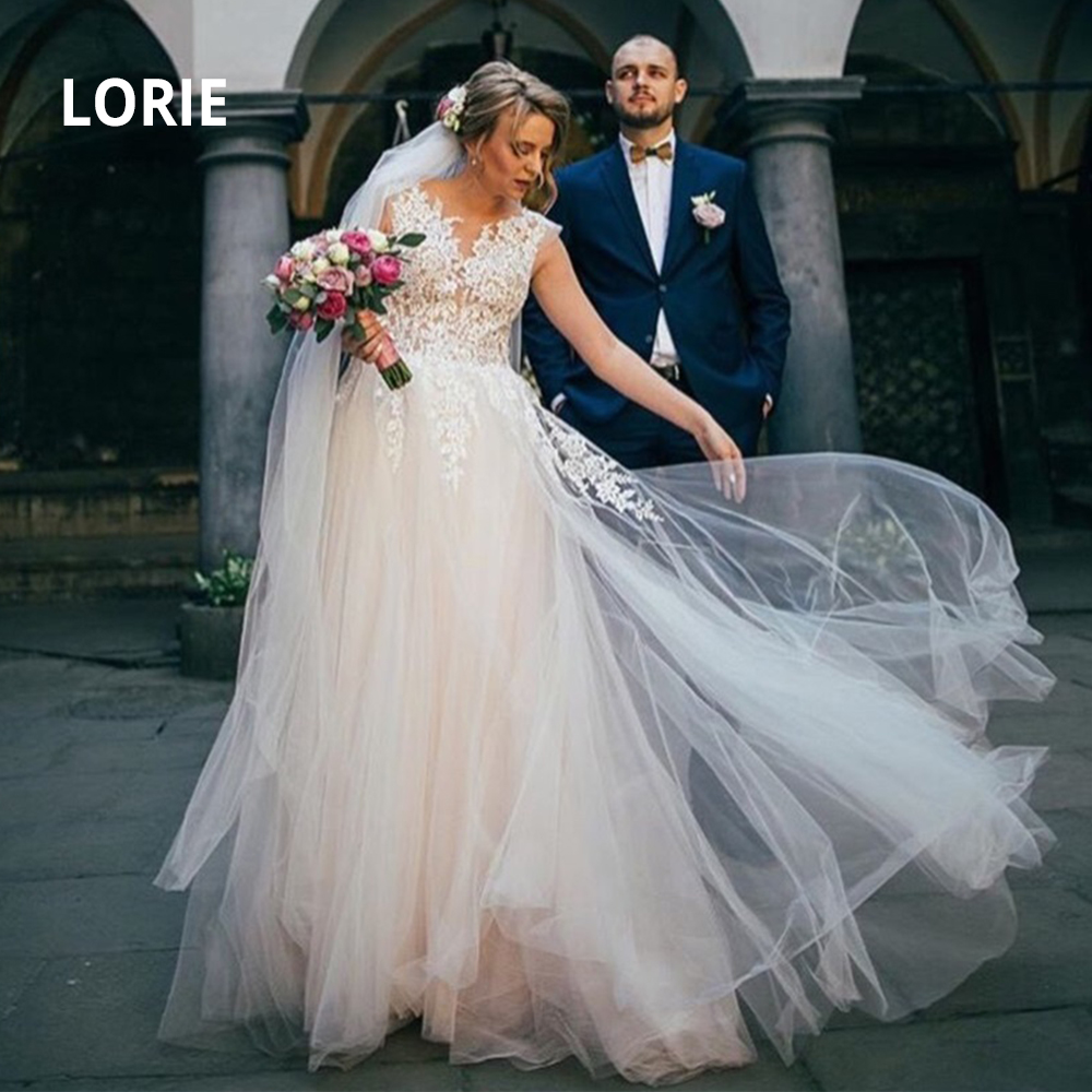 LORIE Sexy Open Back Elegant Lace Appliqued Soft Tulle Wedding Dresses Vintage Princess Illusion Beach Boho Bridal Gowns Country