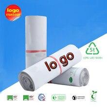 Eco compostable poli mailer saco bio degradável embalagem expressa auto-adesivo entrega correio envoltório plástico envio envelope logotipo