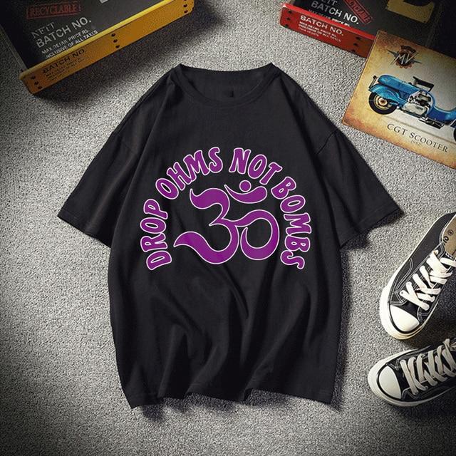 Ohm violet goutte Ohms pas de bombes mode impression T-Shirt vêtements à manches courtes Harajuku T-Shirt vêtements pour femmes T-Shirt
