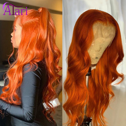 Orange Ginger Lace Front Wig Pre Plucked Brazilian Wavy Human Hair Wigs Glueless Transparent Lace 180% Virgin Lace Frontal Wigs