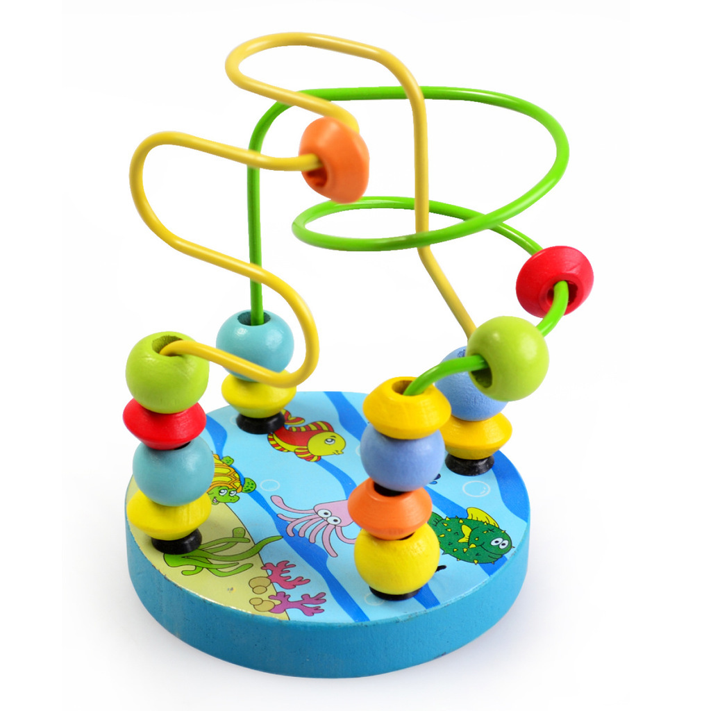Children's Wooden Beaded Toys, Colorful Beads Early Childhood Cognitive Puzzle Game, Baby Wooden Toys