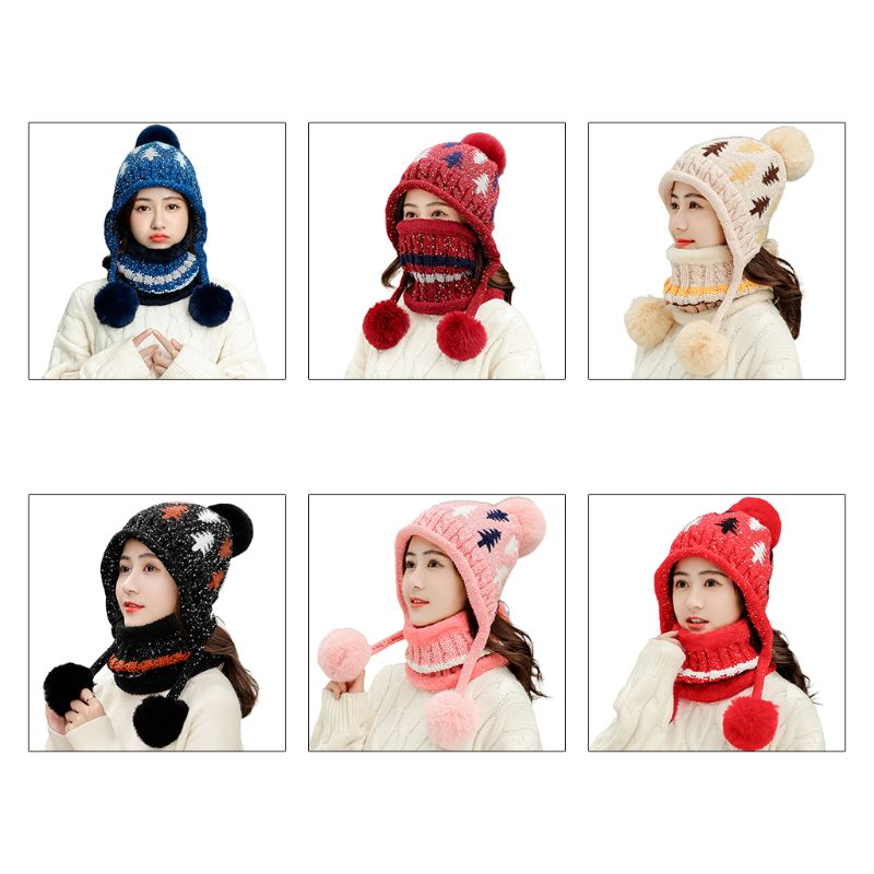 2Pcs Women Beanie Earflap Hat Scarf Set Braided Lady Cable Knit Xmas Tree Pompom Cap Winter Plush Lined Circle Loop Neck Warmer