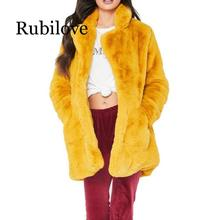 Rubilove Long Winter Faux Fur Coat Women Thicken Fake Streetwear Female Warm Ticket fake fur coats for women
