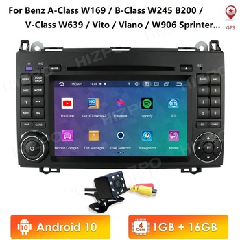 4G Car Multimedia player Android 10 2Din GPS Autoradio For Mercedes/Benz/A-Class W169/B-Class W245/V-Class W639 1G RAM image