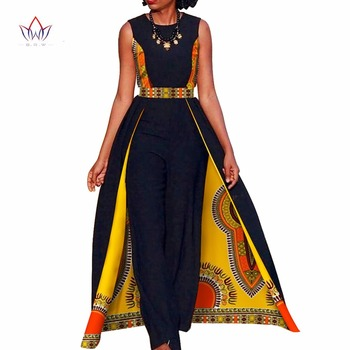 African Design Bazin Summer Elegant Womens Rompers Jumpsuit Sleeveless Rompers Jumpsuit Long Dashiki Pants Plus Size BRW WY729 european and american fashion elegant chiffon jumpsuits piece pants 2018 summer rompers office lady womens jumpsuit